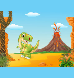 Cartoon happy tyrannosaurus dinosaur vector image vector image