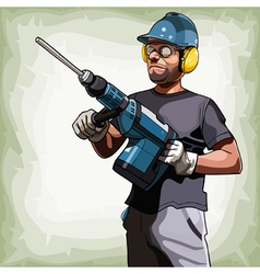 cartoon man in a helmet with a big drill vector image vector image