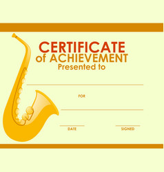 certificate template with golden saxophone vector image vector image