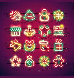 Christmas colorful neon icons vector