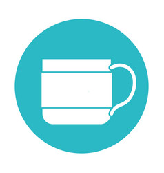 Circle light blue with coffee cup vector