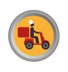 circular emblem with delivery man in scooter vector image