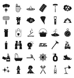 fire icons set simle style vector image vector image