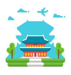 Flat design gyeongbokgung palace seoul vector