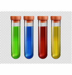 four testtubes filled with colorful liquid vector image