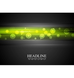 Green glowing stripes and gears vector
