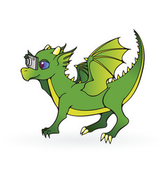 Greeting card with dragon child with photocamera vector