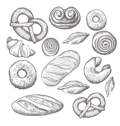 Hand drawn collection of baked goods isolated vector
