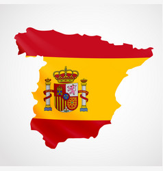 Hanging spain flag in form of map kingdom of vector
