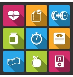 Healthy lifestyle iconset for fitness app vector
