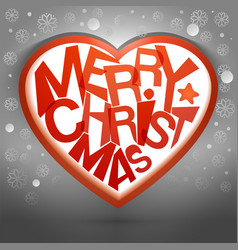 merry christmas heart message with snow vector image vector image