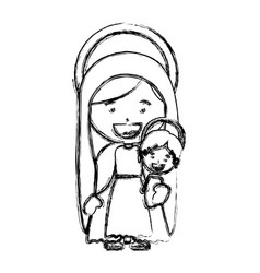 monochrome blurred silhouette of saint virgin mary vector image