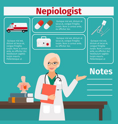 nepiologist and medical equipment icons vector image vector image