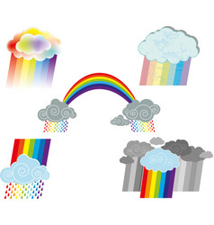 rainbow clouds symbols vector image