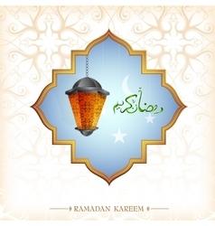 Ramadan greeting card design with lantern vector image vector image