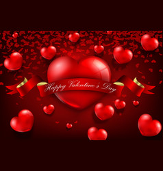 red realistic heart with ribbon background vector image
