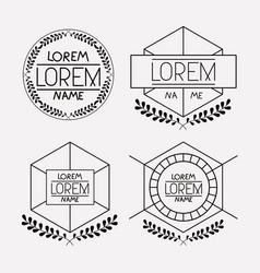 retro vintage insignias sketch set in monochrome vector image vector image