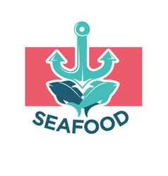 Seafood colorful logo label with anchor and fish vector