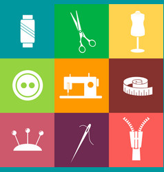 Set of sewing and needlework line icons vector