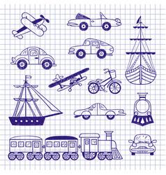 set of vintage transport vector image