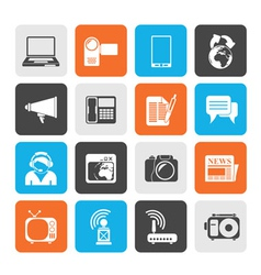 Silhouette Communication and Technology icons vector image