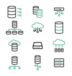 simple set of database server line icons vector image