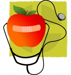 stethoscope and apple vector image