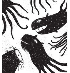 Underwater monsters creatures with tentacles vector