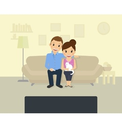Watching tv at home vector image