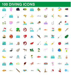 100 diving icons set cartoon style vector