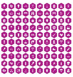 100 fire icons hexagon violet vector