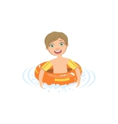 Boy In Water With Round Float vector image