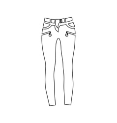 Classic women jeans icon outline style vector