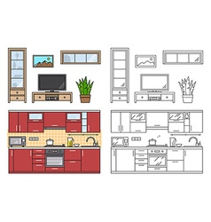 Modern kitchen wall and living room interior vector