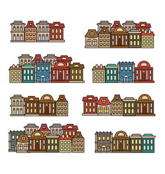 Isolated colorful low-rise housescity elements vector