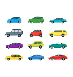 Cartoon cars color icons set vector