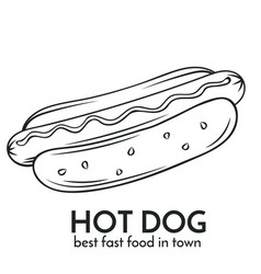 Hand drawn hot dog icon vector