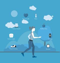 Cartoon jogging girl infographics vector