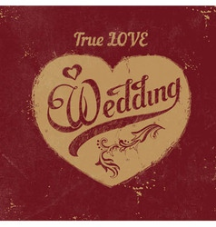 Vintage love heart wedding decoration vector