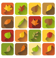 Set of autumn icons with long shadow vector