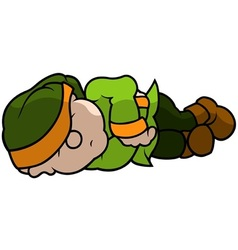 Green elf sleeping vector