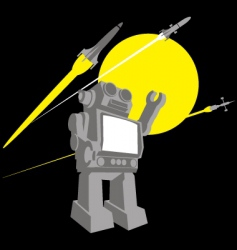 Vintage robot space toy vector