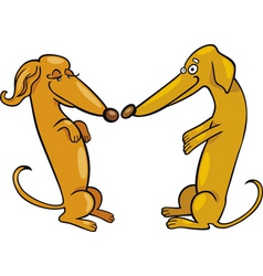Cartoon illustration of dachshund dogs in love vector