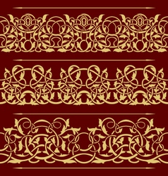 Collection of gold floral seamless border design e vector