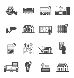 Smart House Black White Icons Set vector image