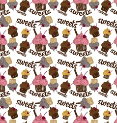 Colored seamless pattern chocolate cupcake vector image