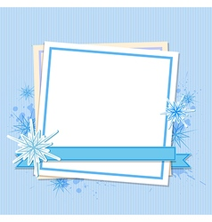 Snowflakes and white sheet of paper vector image