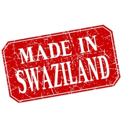 Made in swaziland red square grunge stamp vector