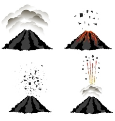 Volcano erupting  peak of mountain fiery crater vector