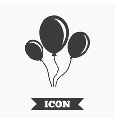 Balloon sign icon Air balloon with rope vector image vector image